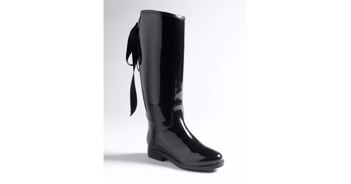 Lyst Dav Victoria Lace Up Rain Boots In Black
