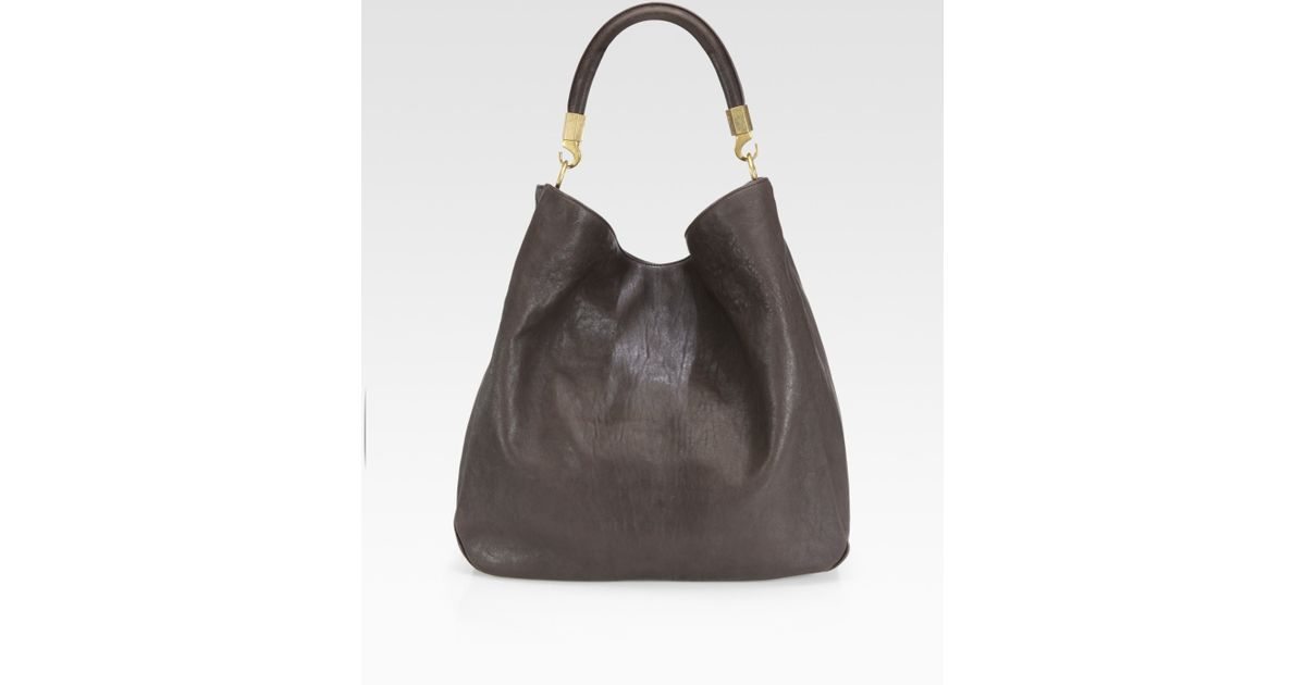 Saint laurent Ysl Large Leather Roady Hobo in Green (sanguine) | Lyst
