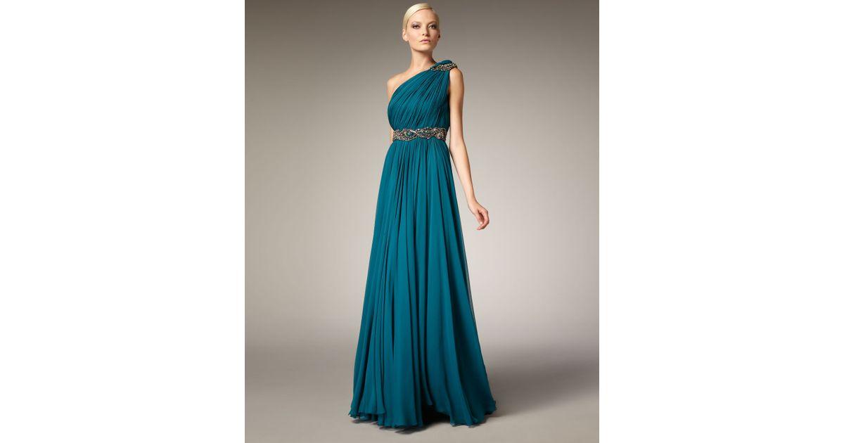 12ec3ff2 Marchesa Grecian One-shoulder Gown in Blue - Lyst