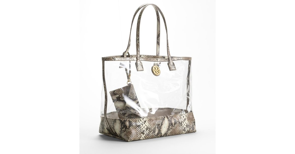 e7e4c52ea581 Lyst - Tory Burch Clear Python Tote in Natural