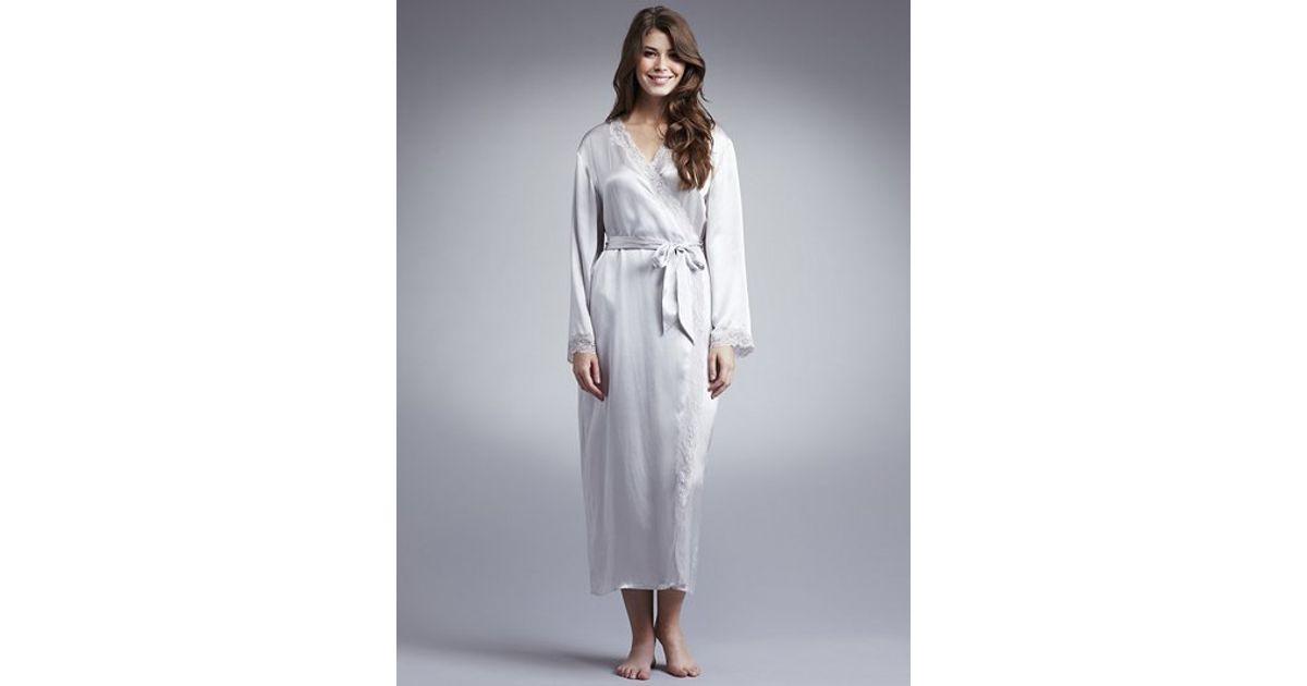 John Lewis Women Long Silk Dressing Gown Light Grey in Gray - Lyst
