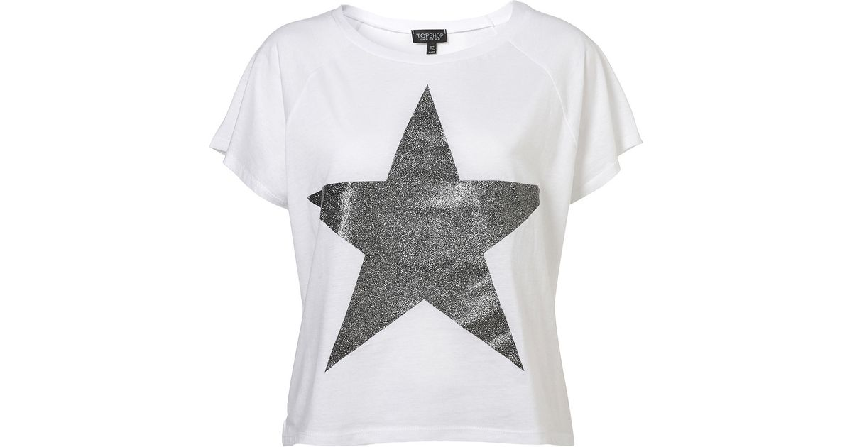 5d64ee4dca39 Topshop Glitter Star Tee in White - Lyst