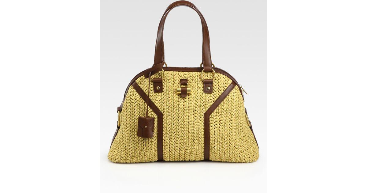 Bag Saint Rafia Muse Lyst Brown In Large Laurent Ysl tXYqxdHw b902193de87