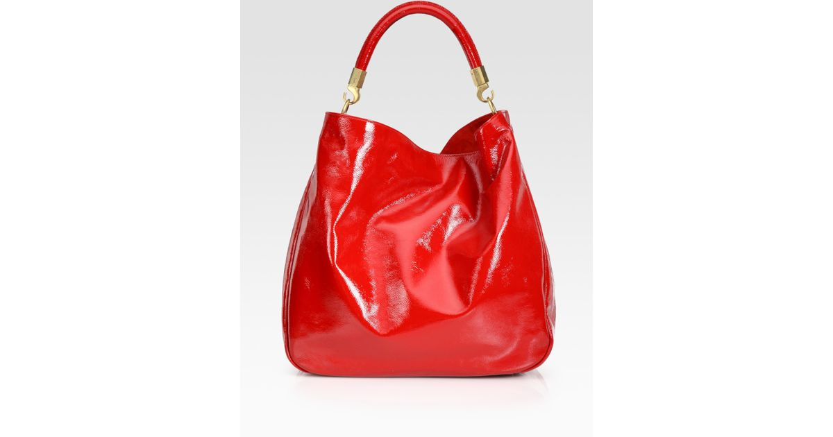 Saint laurent Ysl Large Patent Leather Roady Hobo in Red (poppy ...