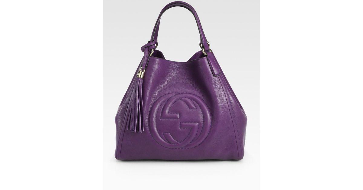 Lyst - Gucci Soho Medium Shoulder Bag in Purple 26f9ff4eacd86