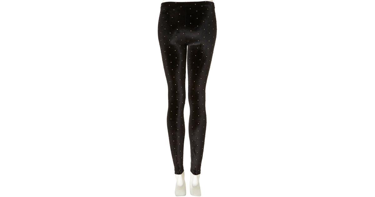 Black Velvet Lyst TOPSHOP in Studded Leggings mNnv80w