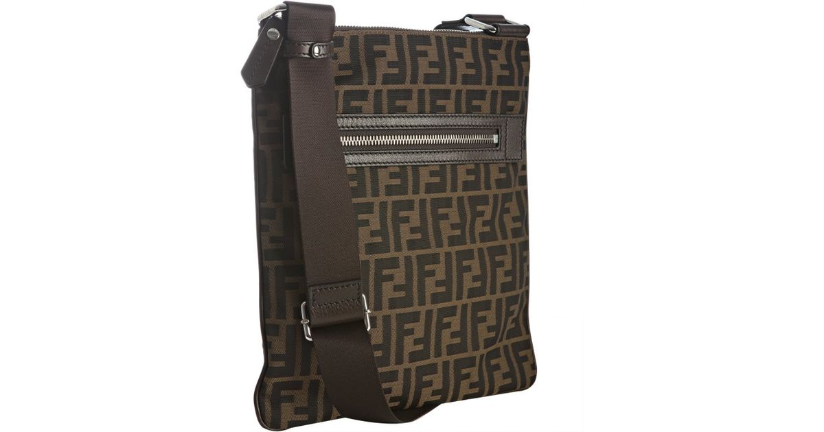 e2cb116a6c ... coupon lyst fendi tobacco zucca canvas messenger bag in brown for men  40a29 16c67 ...