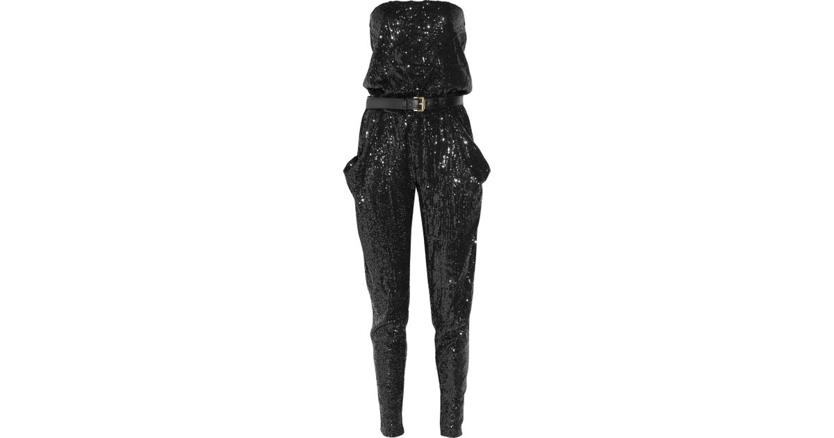 9125b8b53dc Lyst - MICHAEL Michael Kors Strapless Sequined Jumpsuit in Black