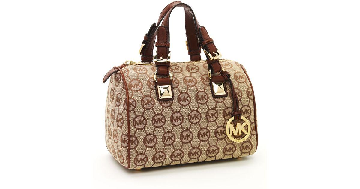 997606f12 ... discount lyst michael kors grayson small monogrammed satchel beige  ebony mocha in brown 1f708 1aac8