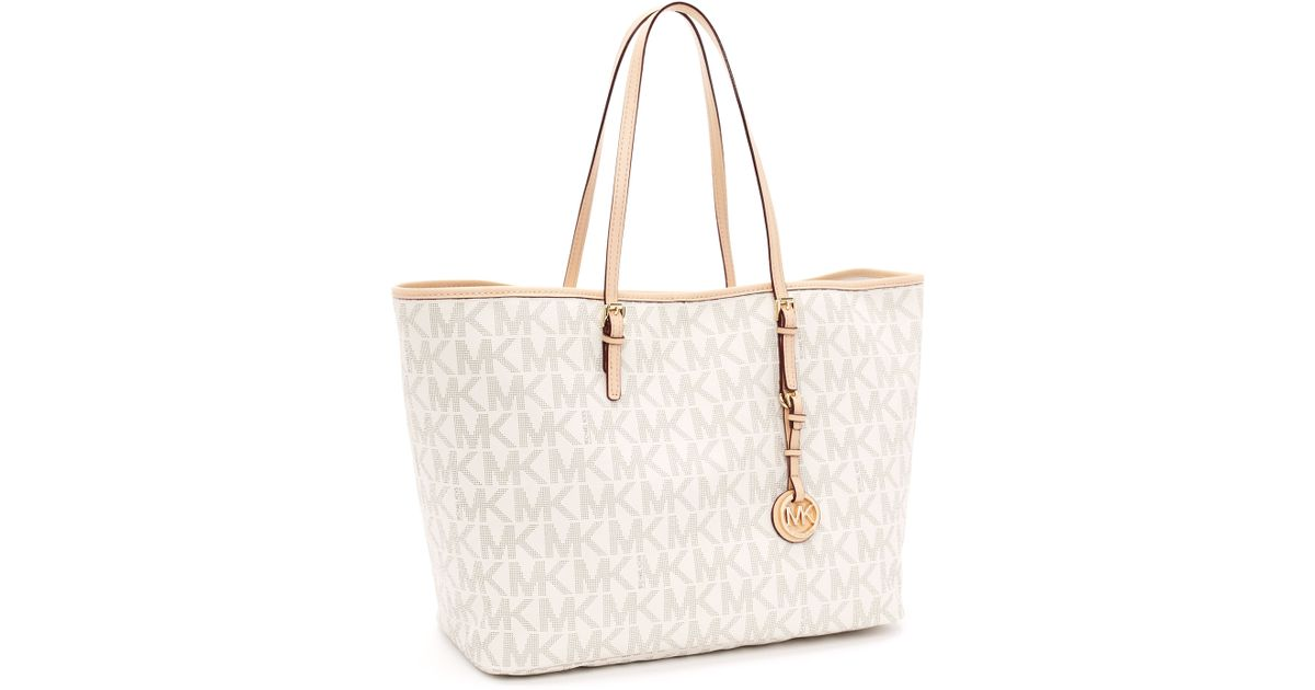 39d7af5eb5030f ... official store lyst michael kors medium jet set logo travel tote vanilla  in white b6e92 a0e9a