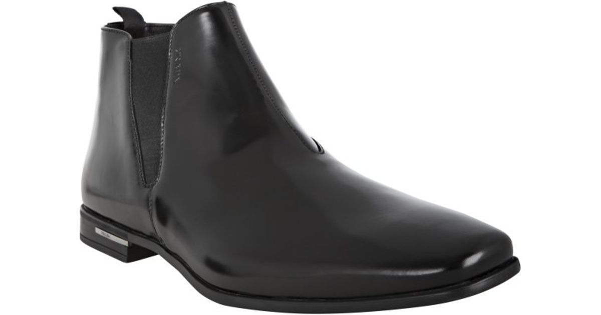 Prada Black Polished Leather Slip-on Ankle Boots in Black for Men ...