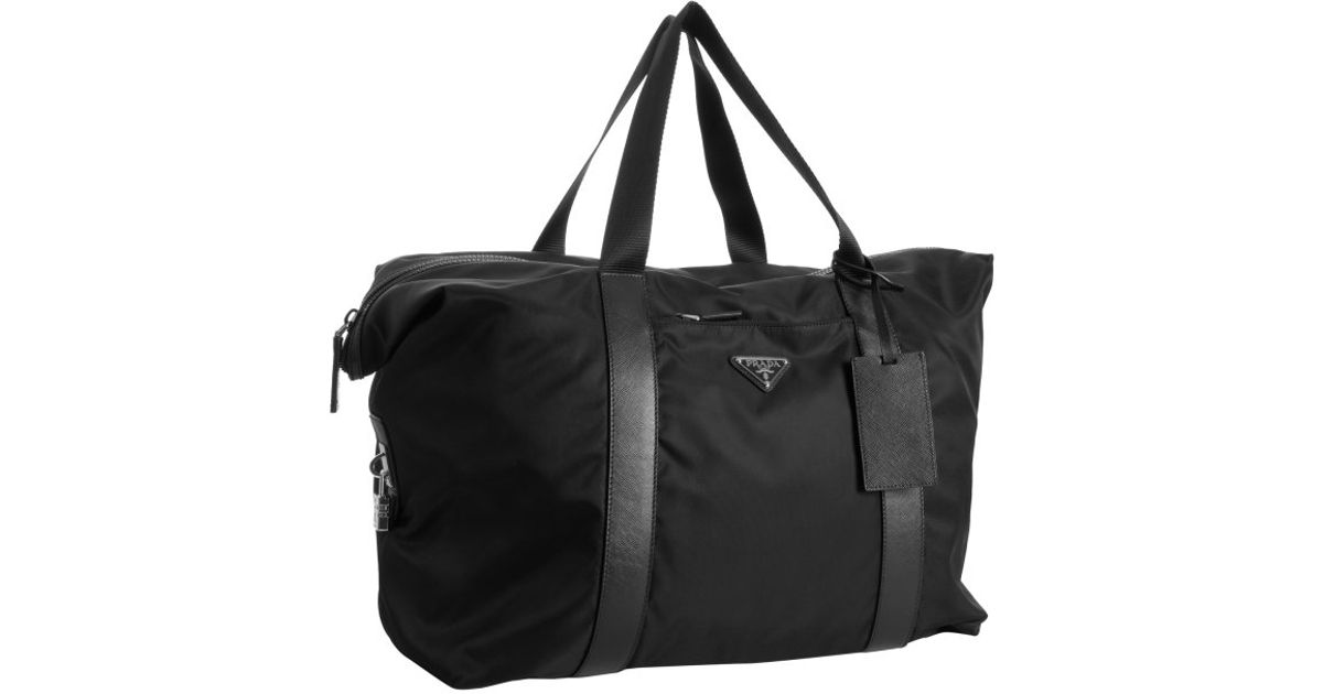 Prada Black Signature Nylon Weekend Bag in Black for Men | Lyst