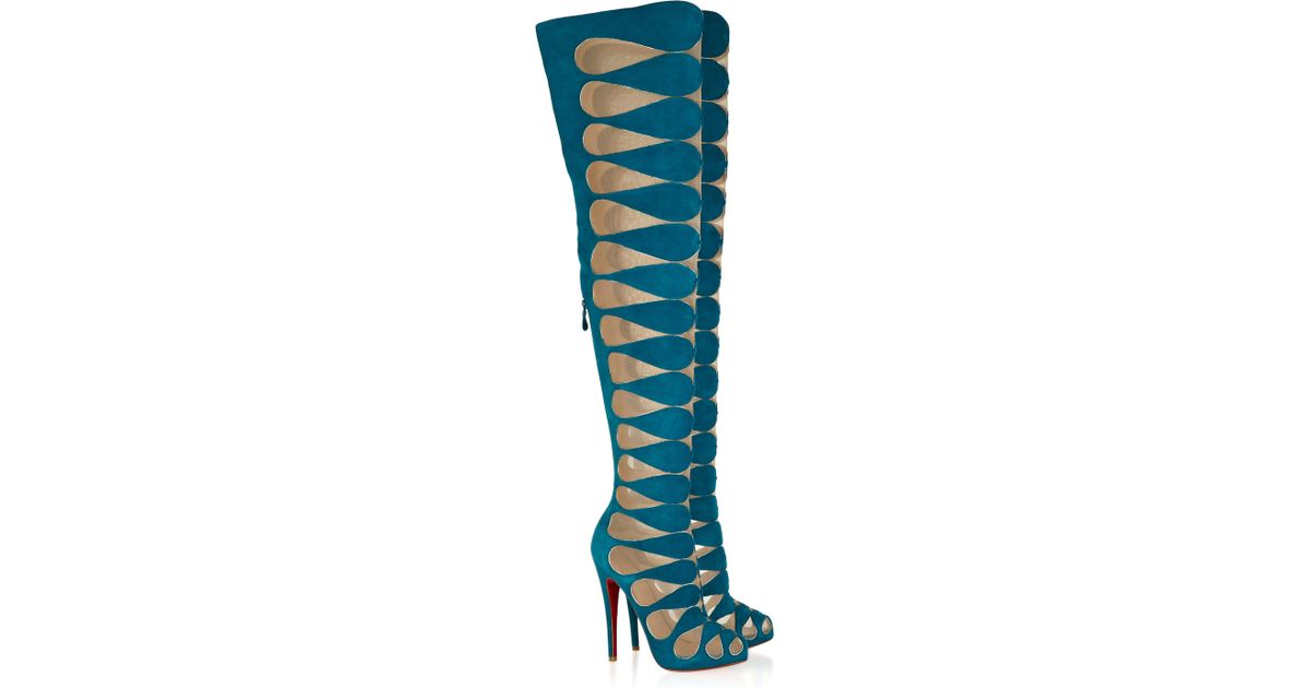 2ae74edf9174 Lyst - Christian Louboutin Lola Montes 140 Cutout Suede Thigh-high Boots in  Blue
