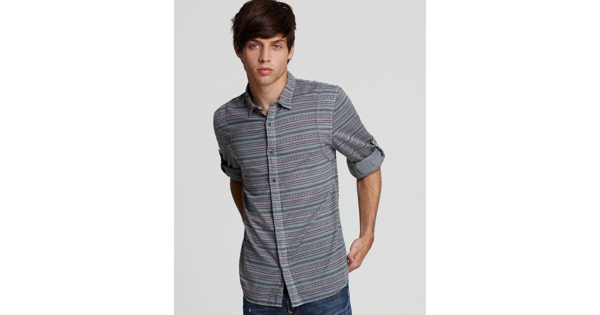 Converse Black Canvas Fairisle Slim Fit Sport Shirt in Gray for ...