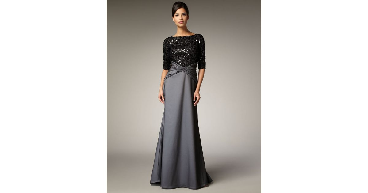 Lyst - Tadashi shoji Lace and Sequin Bodice Gown in Gray