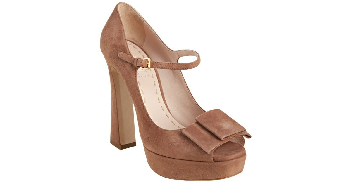 90a699521d79 Miu Miu Dusty Pink Suede Bow Detail Mary-jane Platform Pumps in Pink - Lyst