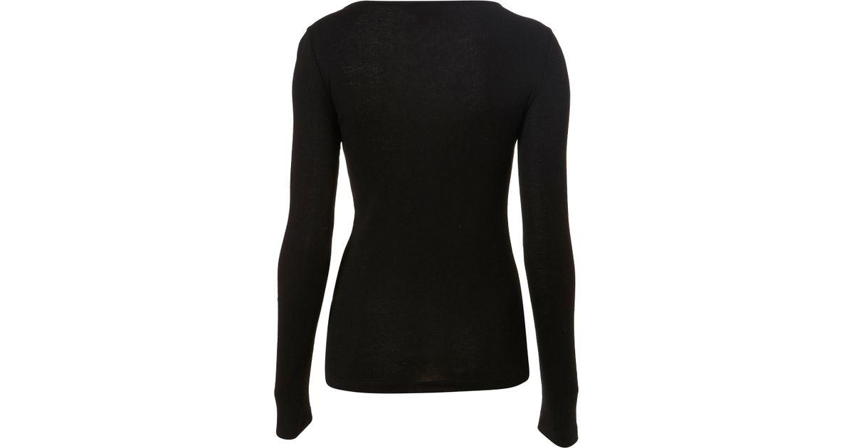e50ace0c8799c5 TOPSHOP Long Sleeve Slash Neck Top in Black - Lyst