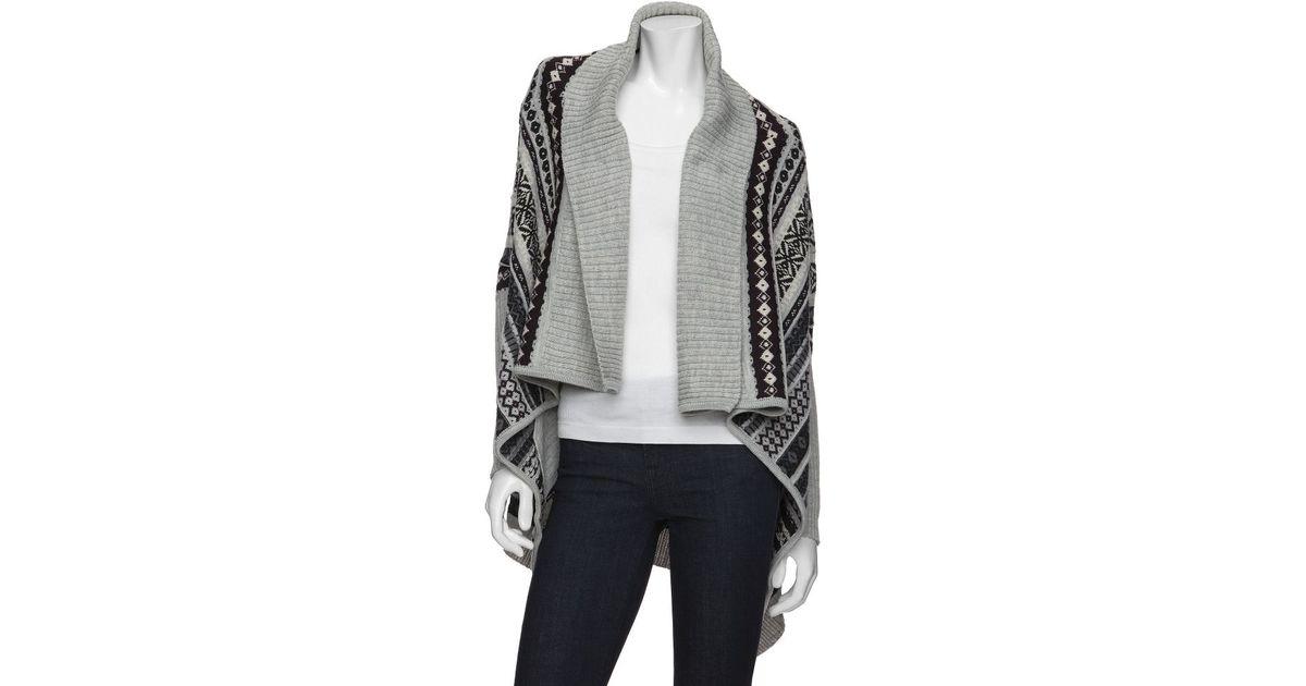 Juliette jake Exclusive Oversized Fairisle Wrap Sweater in Gray   Lyst