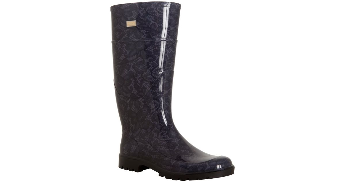 Lyst Dolce Gabbana Black Lace Patterned Rubber Rain Boots In Black Impressive Patterned Rain Boots