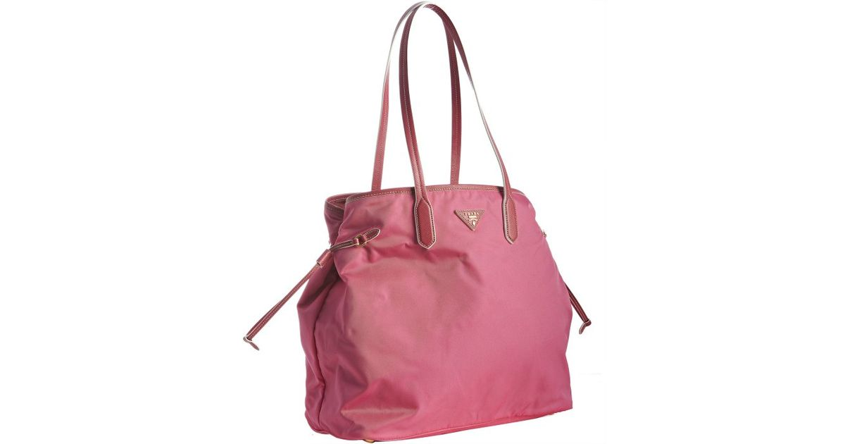 b2791c1d2f0 canada prada nylon tote bag 8db38 99d18  sale lyst prada peonia nylon  shopping tote in pink 8362f af3d0