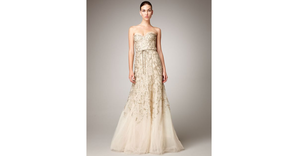 Lyst - Monique Lhuillier Strapless Tulle Chantilly Lace Gown in Metallic