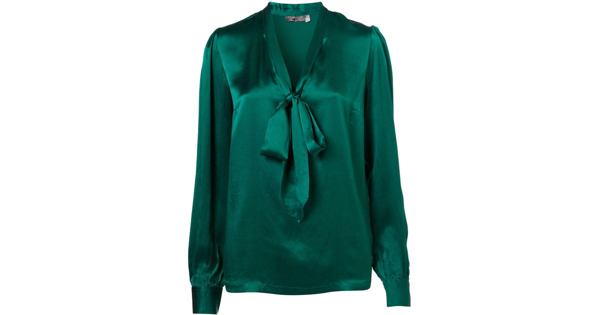 89ab355d04524e Lyst - TOPSHOP Silk Pussybow Blouse in Green