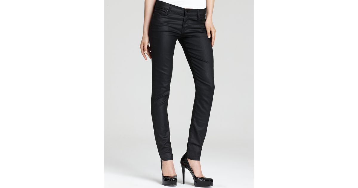 7 for all mankind Coated Featherweight Skinny Jeans in Black  Lyst