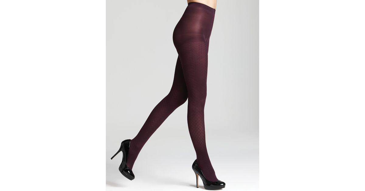 bfcd4cdef22 Hue Textured Diamond Tights with Control Top in Brown - Lyst