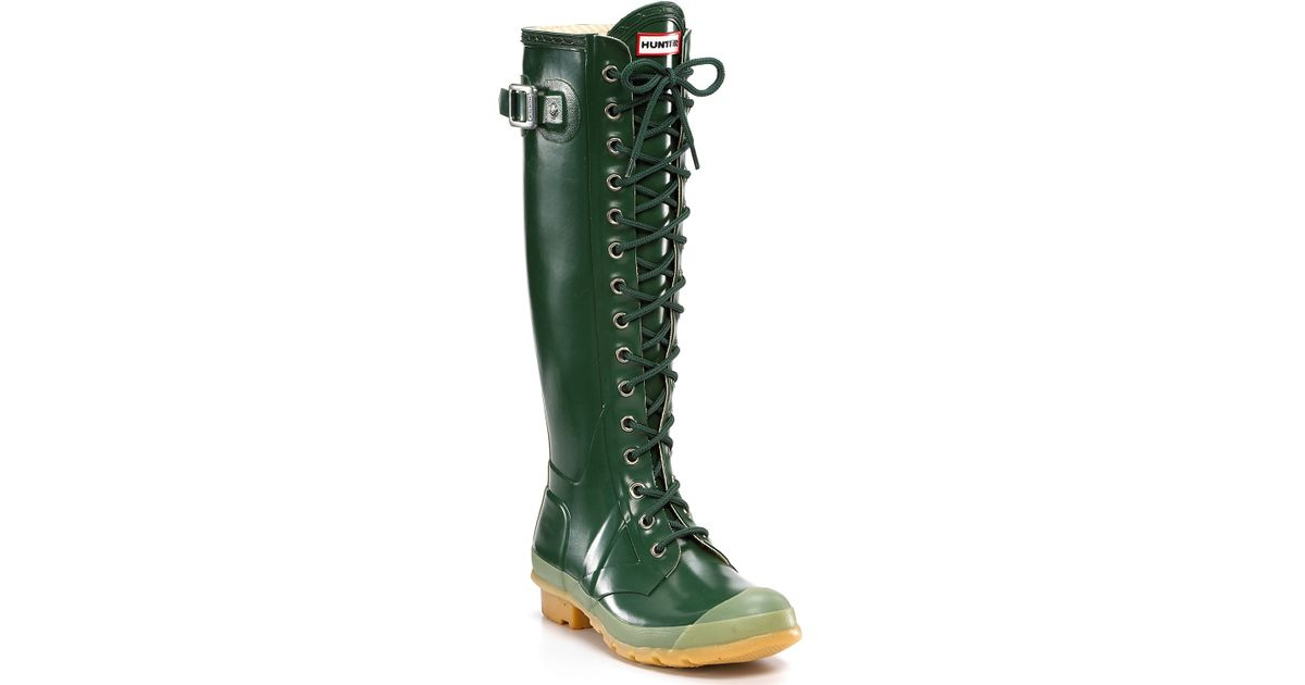d298c94232f Lyst - HUNTER Hunter Gloss Watling Lace-up Rain Boots in Green