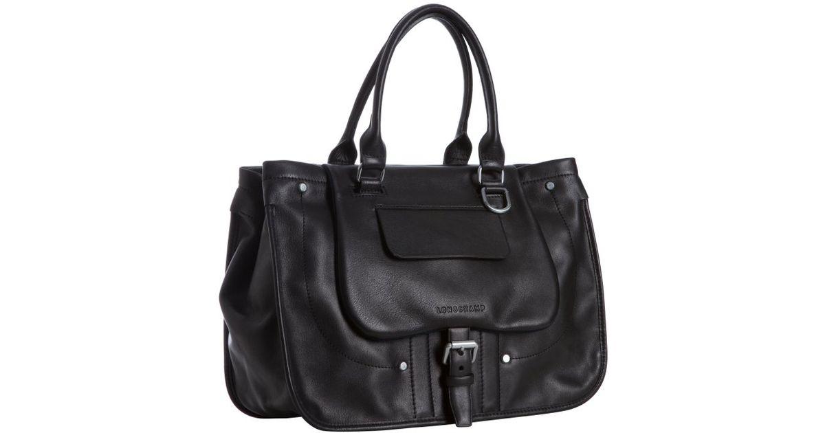 Longchamp Black Leather Balzane Large Handbag in Black - Lyst 7b07c65974bc7
