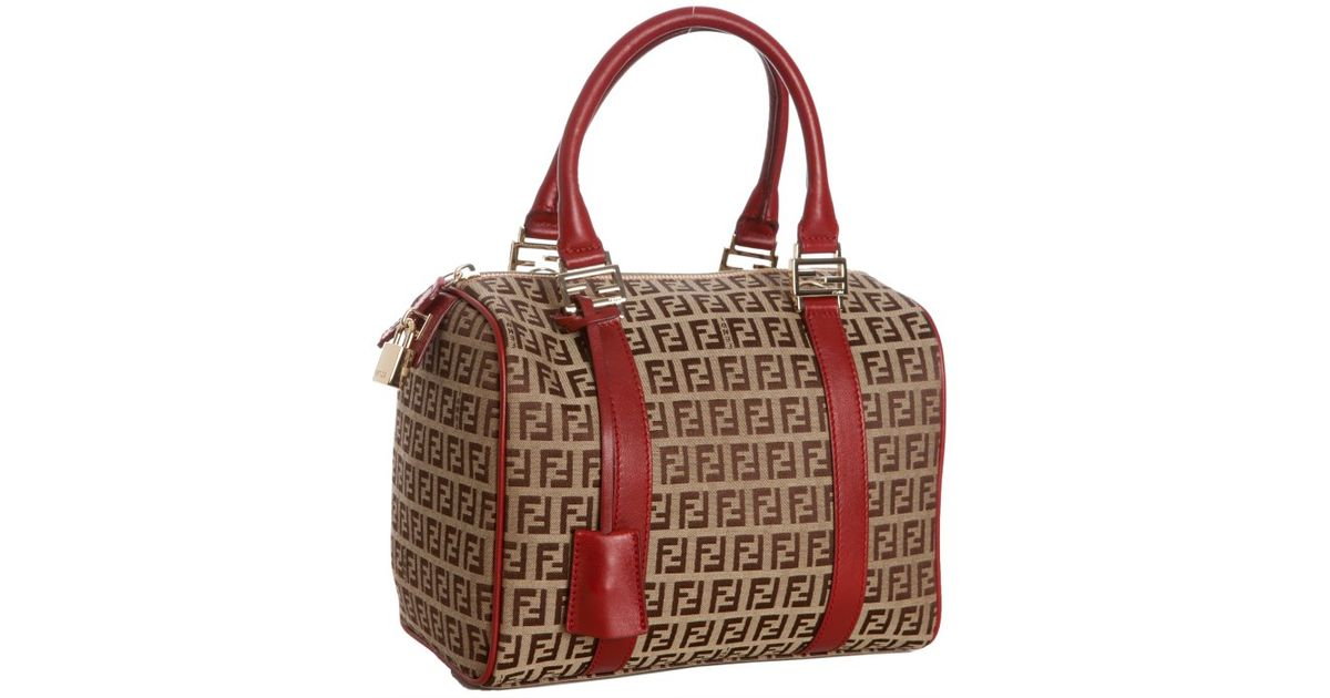 ... sweden lyst fendi zucchino canvas forever top handle bag in red c60b8  08901 ec22c35688723