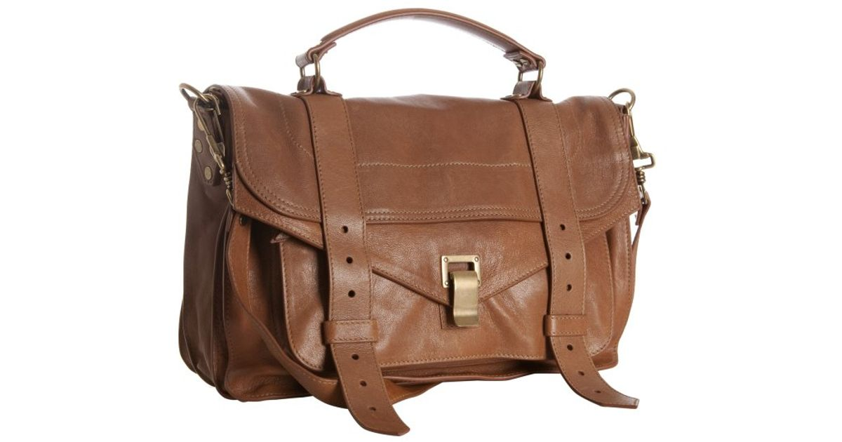 d53232fb3e14 Lyst - Proenza Schouler Sand Leather Ps1 Medium Convertible Satchel in  Natural