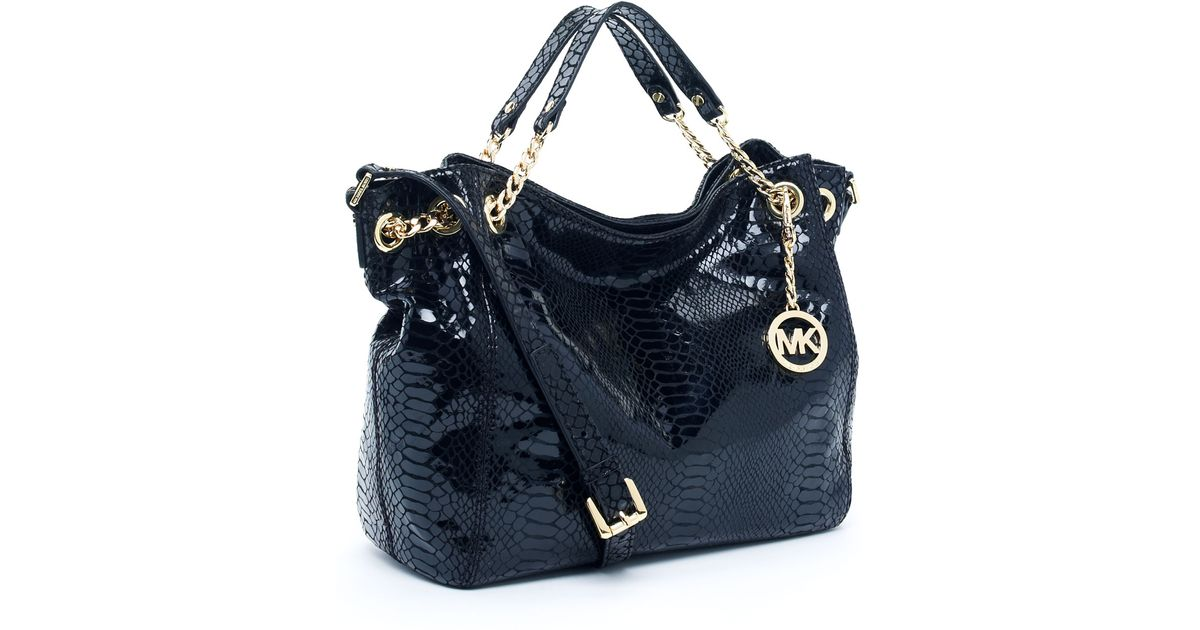 9a1c7f8a3f91 Michael Kors Jet Set Chain Shoulder Tote Python-embossed in Black - Lyst