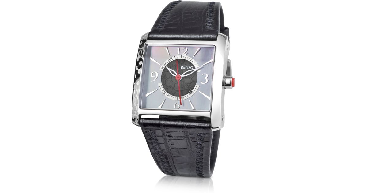345c4138 KENZO Oki- Stainless Steel Square Watch with Black Leather Strap in Black -  Lyst