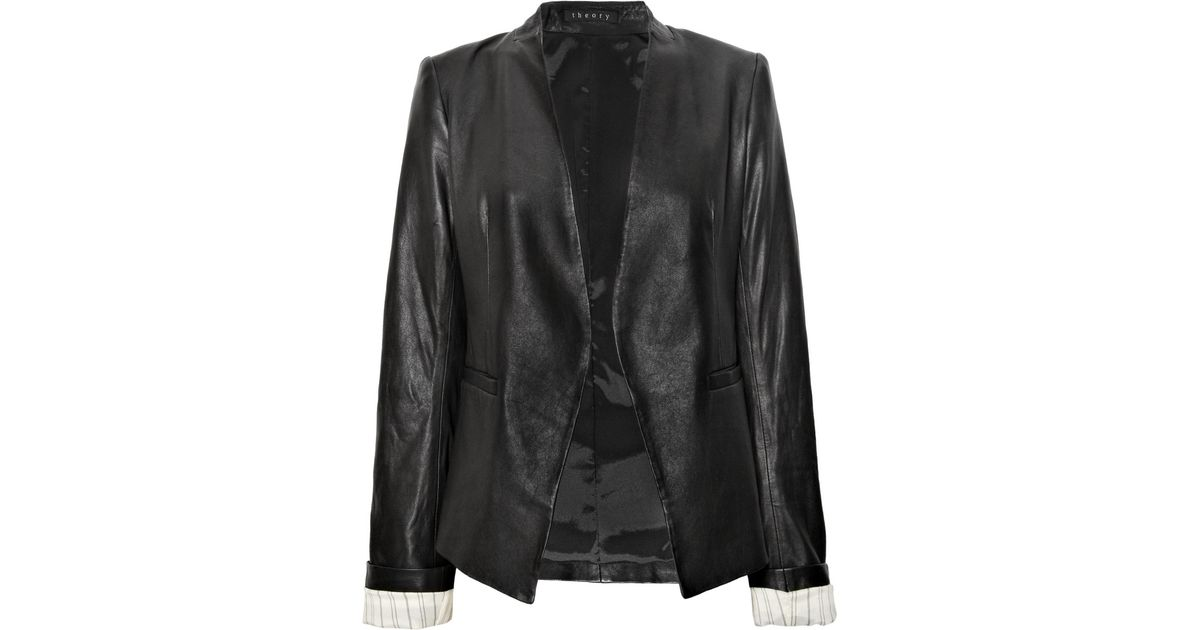74f0df26613 Theory Lanai Leather Jacket in Black - Lyst