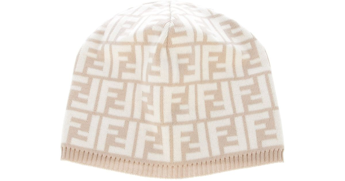 Fendi Monogram Beanie Hat in Natural for Men - Lyst d91c3869fad