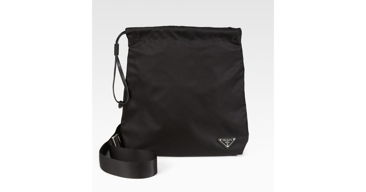 Prada Tessuto \u0026amp; Saffiano Crossbody Bag in Black for Men | Lyst