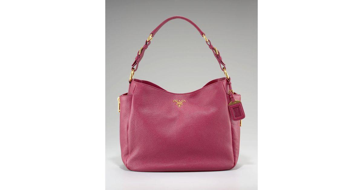 dd2f8c634455e Lyst - Prada Vitello Daino Pebbled Calfskin Leather Hobo in Pink