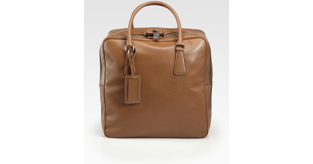 14afa1147f Lyst - Prada Saffiano Travel Bag in Brown for Men
