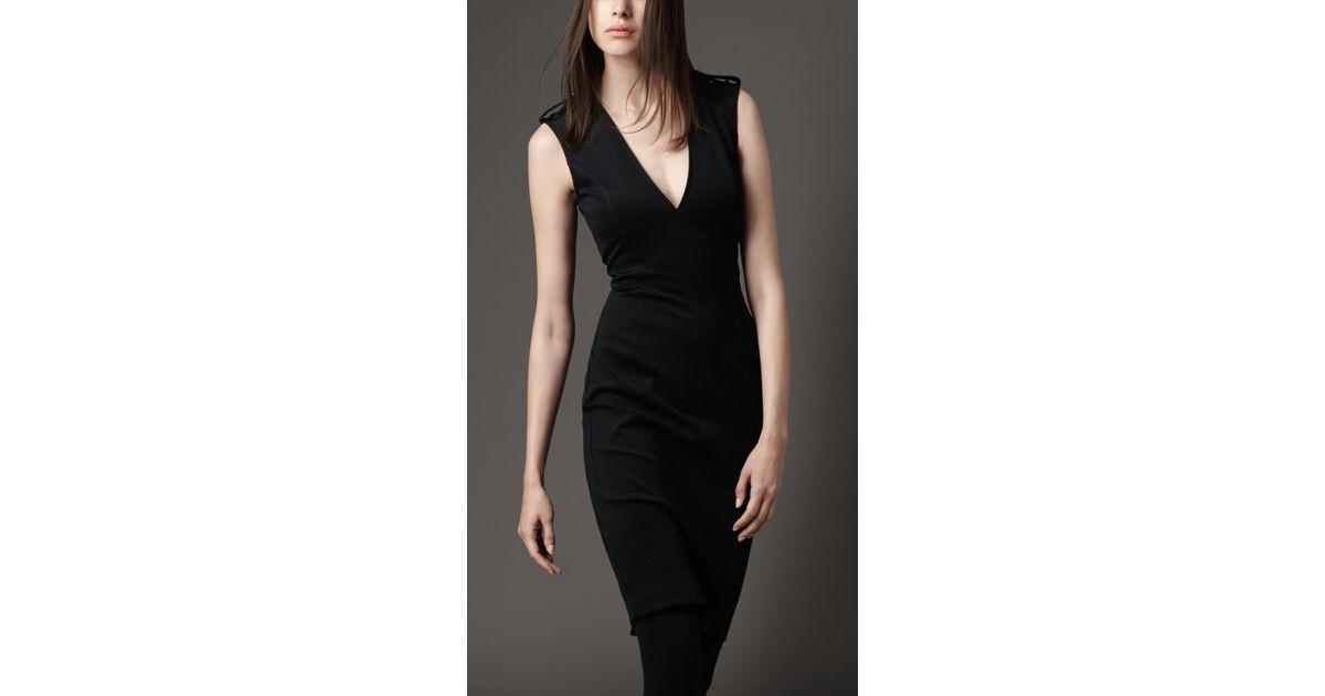 ae27c9da57d5 Lyst - Burberry Deep V-neck Jersey Dress in Black