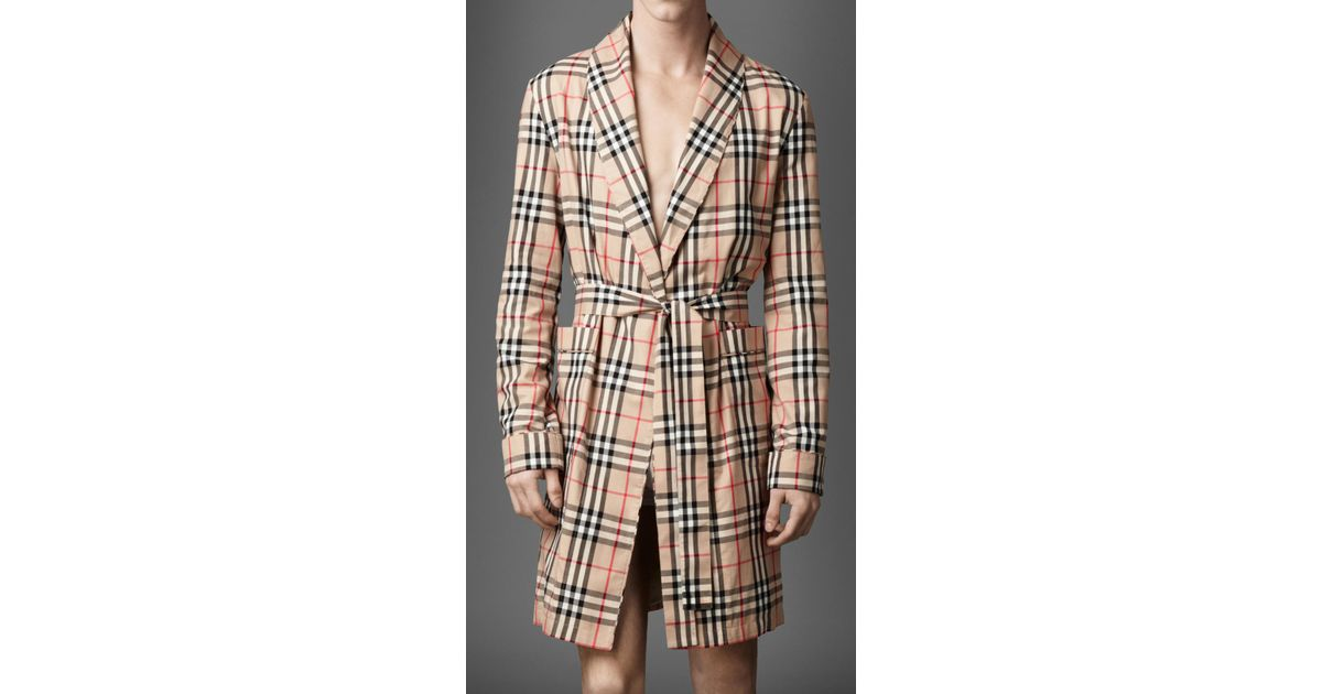 Lyst - Burberry Check Cotton Dressing Gown in Natural for Men