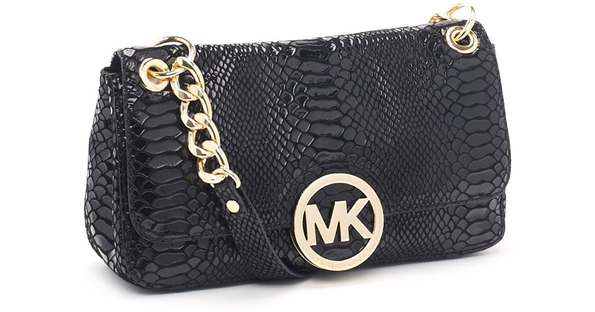 ddffe1acf19ffd Michael Kors Small Fulton Patent Python-embossed Shoulder Bag in Black -  Lyst