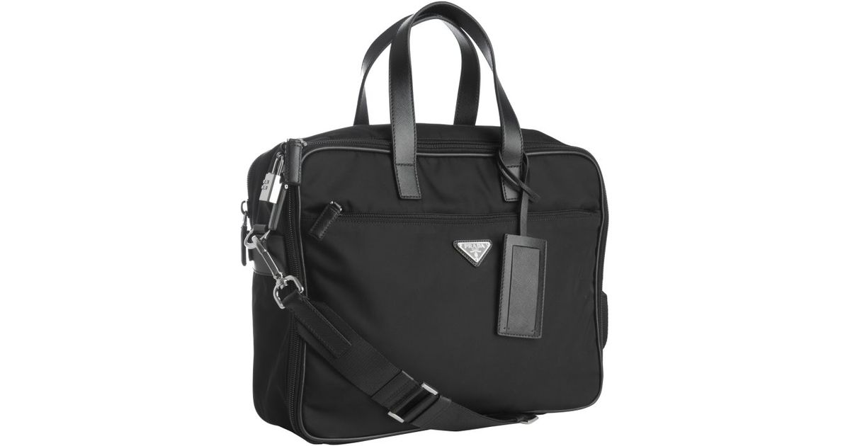 Prada Black Nylon Laptop Travel Bag in Black for Men | Lyst
