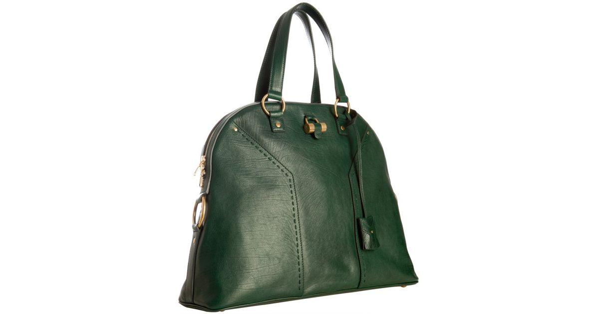 Saint laurent Forest Calfskin Muse Oversized Tote Bag in Green ...
