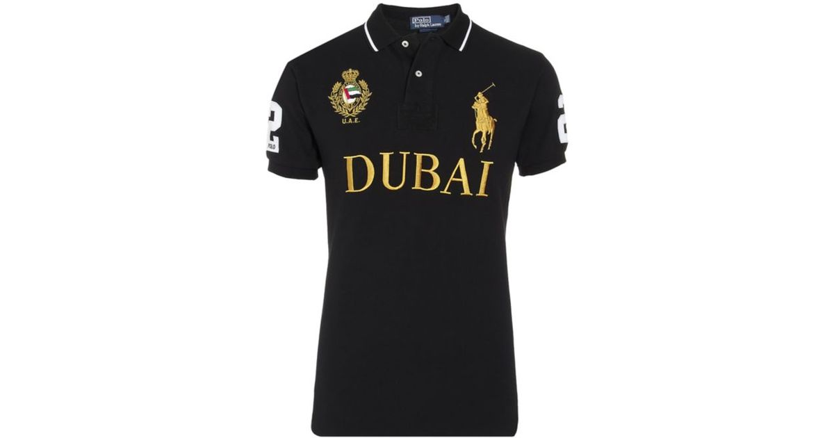 Polo Ralph Lauren Dubai Custom Fit Polo Shirt In Black For Men Lyst