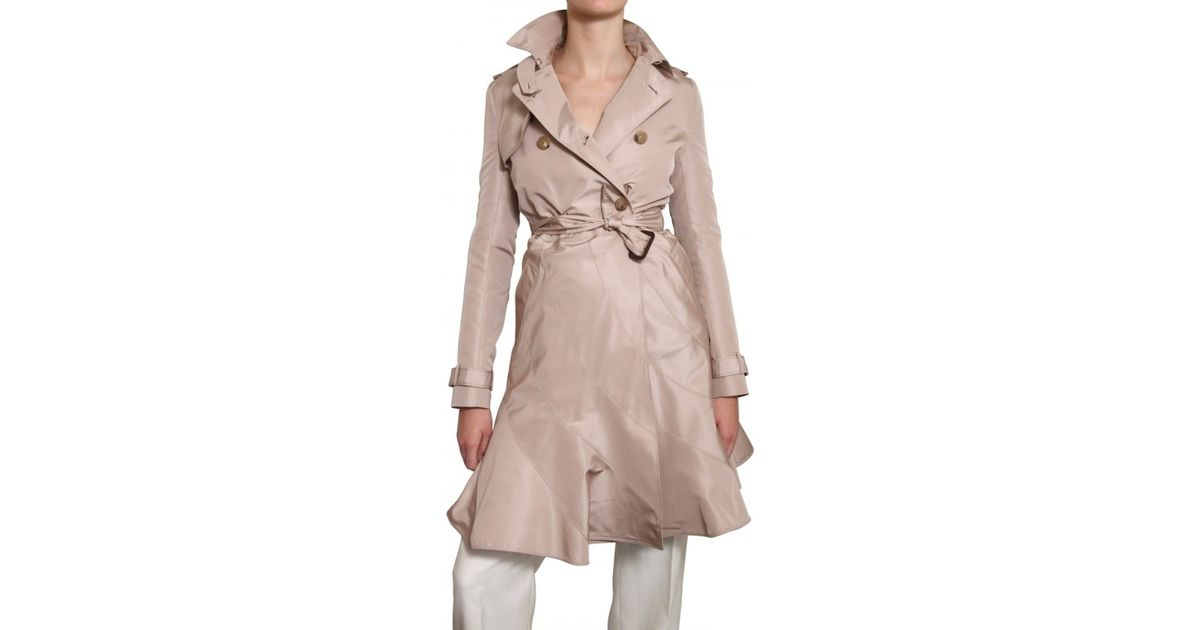 814b377294e Valentino Silk Faille Trench Coat in Natural - Lyst