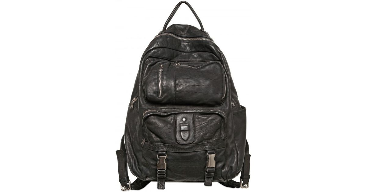 Lyst - Neil Barrett Three Pocket Washed Leather Backpack in Black for Men ec821a6463418