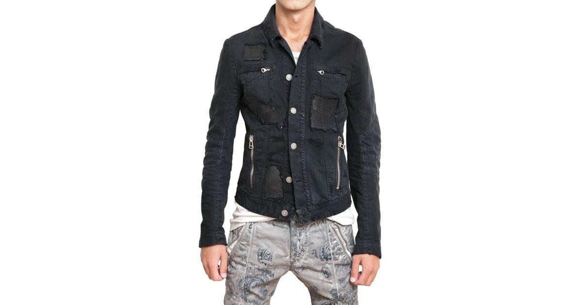 9fc978acf84 Balmain Distressed Denim Sport Jacket in Black for Men - Lyst
