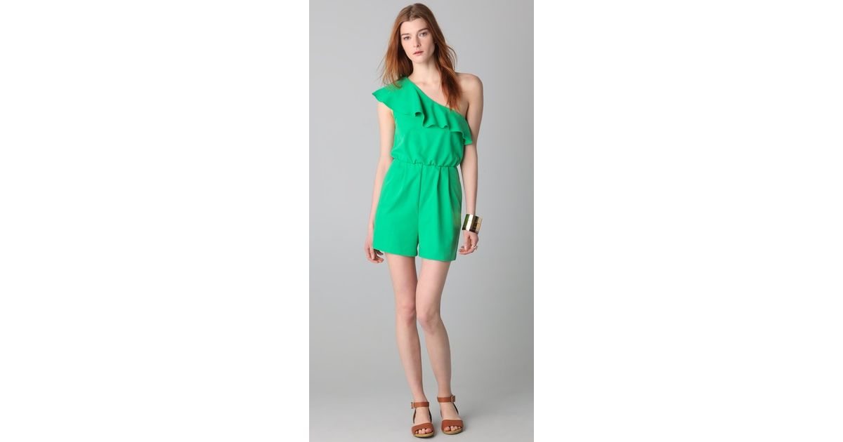 1d63ef0d784 Lyst - Alice + Olivia Stella One Shoulder Ruffled Romper in Green