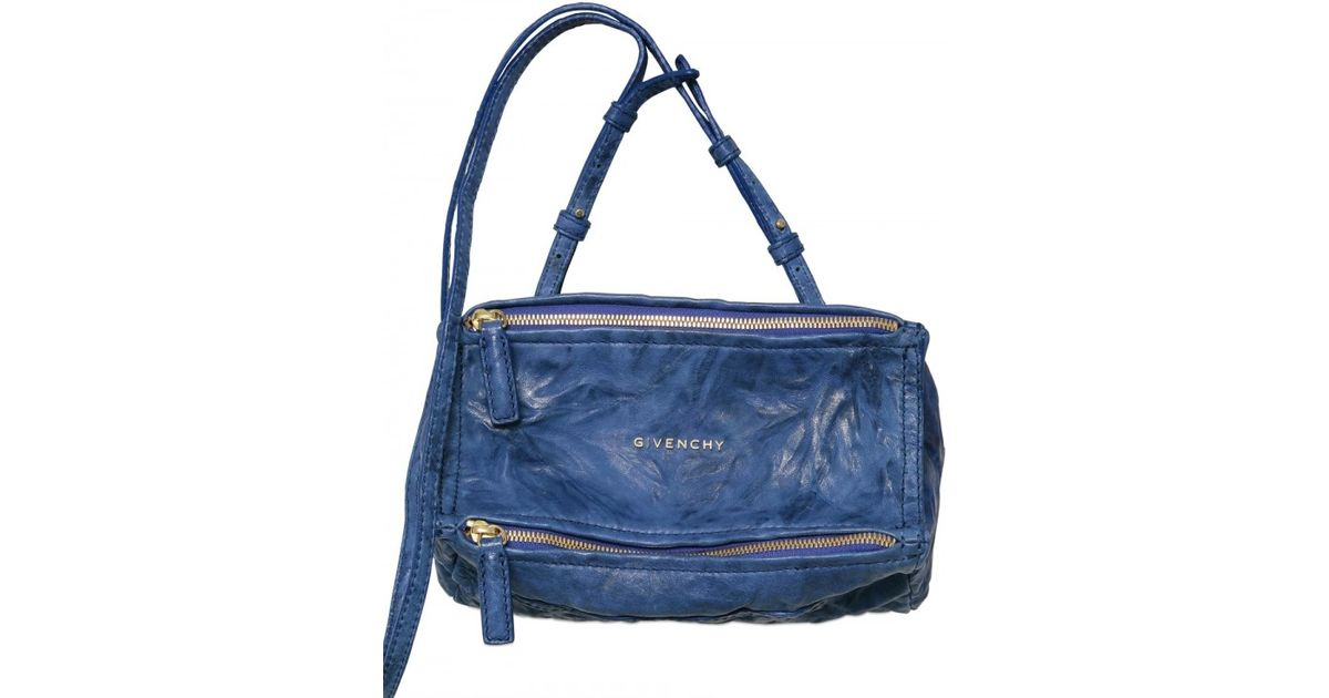491e8e49cd Lyst - Givenchy Pandora Mini Washed Leather Shoulder Bag in Blue